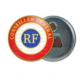 Décapsuleur 6cm Aimant Magnet Cocarde Tricolore Conseiller Général RF Bleu Blanc Rouge