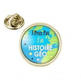 Pin's rond 2cm doré J'peux Pas J'ai Histoire Géo - Mappemonde