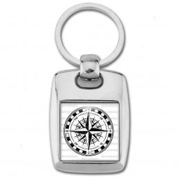 Porte Clés Rectangle Acier 2 Faces Compas Boussole 2 - Symbole Marin