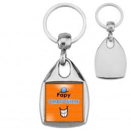 Porte-Clés Carré Acier Papy Chatouille - Fond orange
