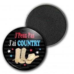 Magnet Aimant Frigo 3.8cm J'Peux Pas J'ai Country - Santiag Chapeau fond noir