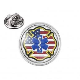 Pin's rond 2cm argenté Croix de Vie Ambulancier Drapeau USA