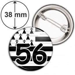 Badge 38mm Epingle Drapeau Breton 56 Morbihan Bretagne Brezhoneg Celte Celtique Noir Blanc