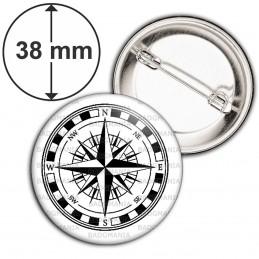 Badge 38mm Epingle Compas Boussole 2 - Symbole Marin