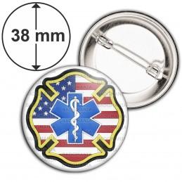 Badge 38mm Epingle Croix de Vie Ambulancier Drapeau USA