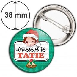 Badge 38mm Epingle Joyeuses Fêtes TATIE Noël Gui Cloches