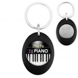 Porte-Clés Noir Ovale Jeton Caddie J'Peux Pas J'ai Piano - Clavier Instrument Musique
