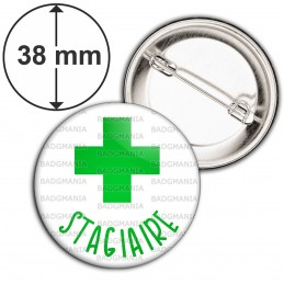 Badge 38mm Epingle Stagiaire en Pharmacie Croix Verte Fond Blanc