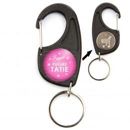 Porte-Clés Mousqueton Jeton Caddie Super Future TATIE - Etoiles Fond Rose