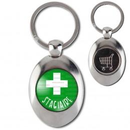 Porte-Clés Acier Ovale Jeton Caddie Stagiaire en Pharmacie Croix Fond Vert