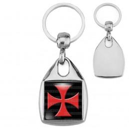 Porte-Clés Carré Acier Ordre du Temple Templier Croix Templière Rouge Fond Noir