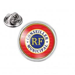 Pin's rond 2cm argenté Cocarde Tricolore Conseiller Municipal RF Bleu Blanc Rouge