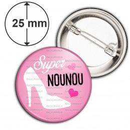 Badge 25mm Epingle Super Nounou - Chaussure Talon Blanche Fond Rose