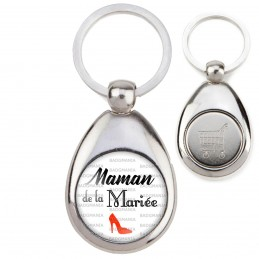 Porte-Clés Acier Goutte Jeton Caddie Maman de la Mariée - Escarpin Rouge Mariage Cérémonie