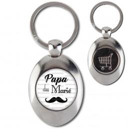 Porte-Clés Acier Ovale Jeton Caddie Papa du Marié - Moustache Mariage Cérémonie