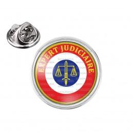 Pin's rond 2cm argenté Cocarde Expert Judiciaire Bleu Blanc Rouge Texte Jaune