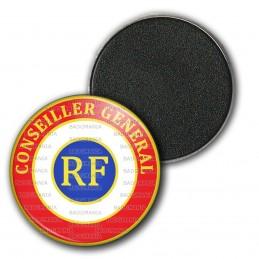 Magnet Aimant Frigo 3.8cm Cocarde Tricolore Conseiller Général RF Bleu Blanc Rouge