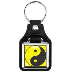 Porte-Clés Carré Cuir Vegan Yin Yang Jaune Gris Foncé Harmonie Equilibre Feng Shui Paix Peace