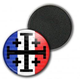 Magnet Aimant Frigo 3.8cm Croix de Jérusalem Terre Sainte Drapeau Français Catholique Nation