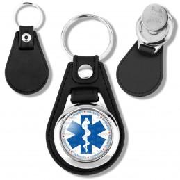 Porte-Clés Cuir Vegan Rond Jeton Caddie Croix de Vie Paramedic Caducée Santé