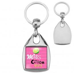 Porte-Clés Carré Acier Miss Citron Vert - Fruit citron vert sur fond rose