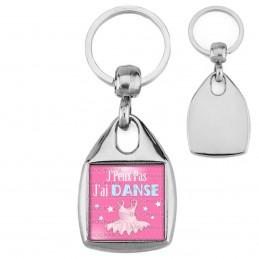 Porte-Clés Carré Acier J'Peux Pas J'ai Danse - Tutu fond rose