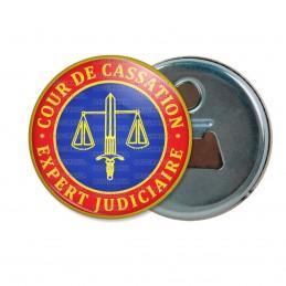 Décapsuleur 6cm Aimant Magnet Cocarde Bleu Rouge Expert Judiciaire Cours de Cassation Texte Or