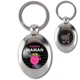 Porte-Clés Acier Ovale Jeton Caddie Madame MAMAM Patate - Noir