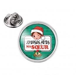 Pin's rond 2cm argenté Joyeuses Fêtes MA SŒUR Noël Gui Cloches