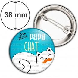 Badge 38mm Epingle Mon PAPA chat - Fond bleu Chat moustache
