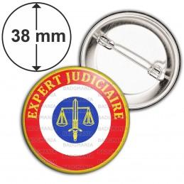 Badge 38mm Epingle Cocarde Expert Judiciaire Bleu Blanc Rouge Texte Jaune
