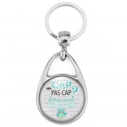 Porte Clés Métal 2 Faces Logo 3cm Cap ou pas Cap d'être mon Parrain - Fond gris Chouette - Annonce Naissance