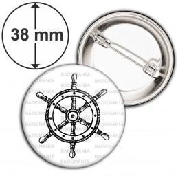 Badge 38mm Epingle Barre à Roue Bateau - Symbole Marin