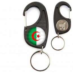 Porte-Clés Mousqueton Jeton Caddie Drapeau Algérie Algérien Croissant Rouge Embleme Islamique