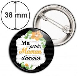 Badge 38mm Epingle Ma Petite Maman d'Amour - Fleurs Orange Fond Noir