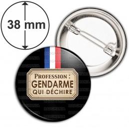 Badge 38mm Epingle Profession : Gendarme qui déchire - Bleu Blanc Rouge Fond Noir