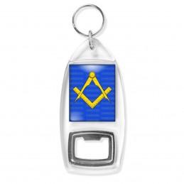 Porte Clés Décapsuleur Compas Equerre Francs-Maçons Symbole Maçonnique Jaune Fond Bleu
