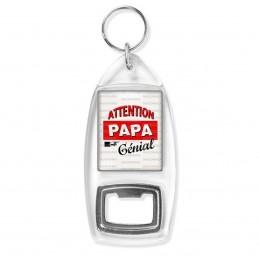 Porte Clés Décapsuleur Attention Papa Génial - Fond blanc