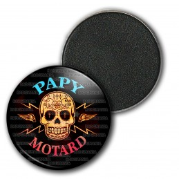 Magnet Aimant Frigo 3.8cm Papy Motard - Tête de mort