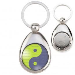 Porte-Clés Acier Goutte Jeton Caddie Yin Yang Vert Anis Gris Harmonie Equilibre Feng Shui Paix Peace