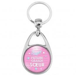 Porte Clés Métal 2 Faces Logo 3cm Super Future GRANDE SOEUR - Etoile Fond Rose - Annonce Grossesse Naissance