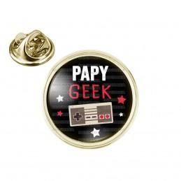 Pin's rond 2cm doré Papy Geek