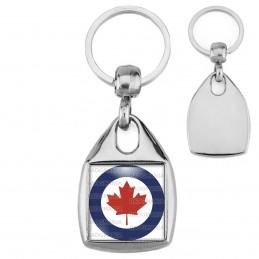 Porte-Clés Carré Acier Cocarde Force Aerienne Canadienne Canada RCAF Feuille Erable Rouge