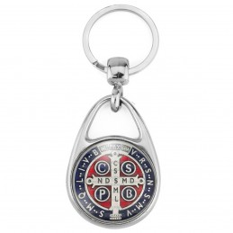 Porte Clés Métal 2 Faces Logo 3cm Medaille Croix de Saint Benoit Couleur Exorcisme Benediction