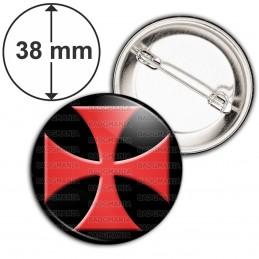 Badge 38mm Epingle Ordre du Temple Templier Croix Templière Rouge Fond Noir