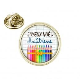 Pin's rond 2cm doré Joyeux Noël Maîtresse - Quadrillage Crayons de couleur