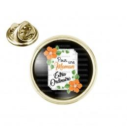 Pin's rond 2cm doré Pour une Maman Extraordinaire - Fleurs Orange Fond Noir