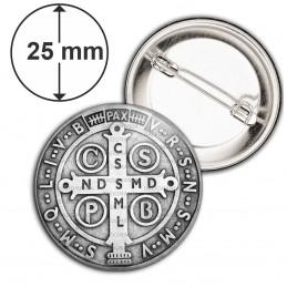 Badge 25mm Epingle Medaille Croix de Saint Benoit Exorcisme Benediction