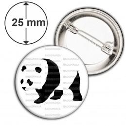 Badge 25mm Epingle Panda Géant Ursidés Animal Chine Noir et Blanc