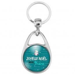 Porte Clés Métal 2 Faces Logo 3cm Joyeux Noël MON FRERE - Bonhomme de neige Flocons Fond Bleu